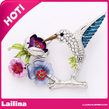 Hummingbird Brooch, Blue Humming Birds Broach, Jewelry Pin for Bird Lovers, Hummingbird Jewelry(China)