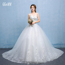 Buy vestido de noiva Ivory Wedding Dresses Long 2018 Sexy Wedding Gowns White Scoop Tulle Appliques Lace-Up Bridal Dress Custom Made for $161.10 in AliExpress store