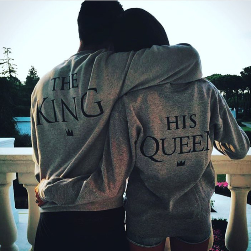 King Queen Letter Print Long Sleeve T-Shirt Valentine Women Grey New Family Top Tee Couple Shirt Femme Loves O-Neck T shirt