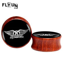 2pcs/lot Rock Aerosmith Red Sandal Wood Saddle Ear Plugs and Flesh Tunnel,Ear Piercing Gauges Expander Stretcher 8MM 10MM 25MM(China)