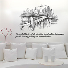 [Fundecor] Modern city sketch silhouette Wall Stickers diy home decor living room bedroom office art decals self adhesive film(China)