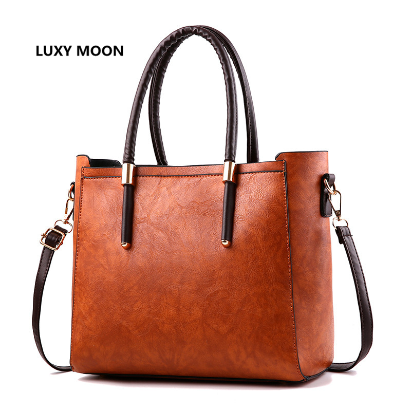 Classic Simple Fashion Causal Totes Vintage Women Handbags sac a main Shopping Large PU Leather Shoulder Bags Female A66<br>