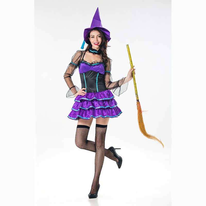 Purple Witch Costume Sexy Halloween Women Pleated Skirts With Long Lace Sleeves Female 2018 hot sale Carnival Cosplay Costume