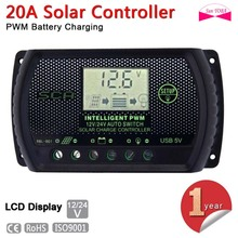 PWM 20A Solar Charge Controller 12V 24V LCD Display USB Auto Regulator Light control Solar Panel Battery Charge Regulators A391