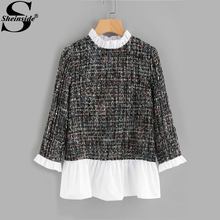 Sheinside Contrast Frill Trim Patchwork Tweed Blouse 2017 Color Block Long Sleeve Ruffle Blouse Women Casual Fall Blouse(China)