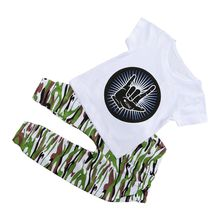 ABWE Best Sale Casual Toddler Baby Kids Boys Clothes Set T-shirt Tops Camouflage Pants Outfits, White+Camouflage 70cm