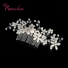New arrival silver Rhinestone Hair combs handmade Bridal headband women pearl hairpin wedding hair ornament accessories RE707