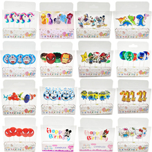 5pcs Unicorn Moana Minions Emoji Hello Kitty Spiderman Party Supplies Kids Birthday Candles Cake Evening Party Decorations(China)