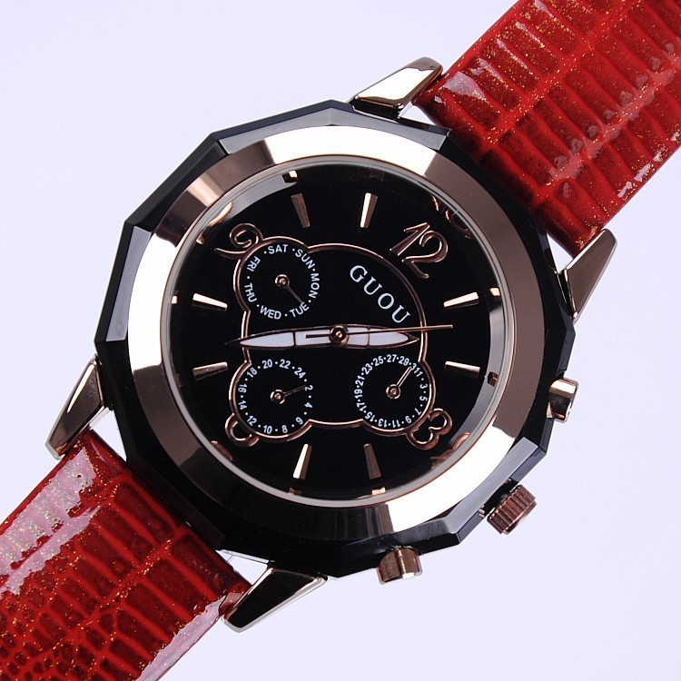 GUOU Luxury Gold Watch Waterproof Genuine Leather Watch Women Watches Fashion Ladies Watch Quartz Clock Hour relogio feminino<br><br>Aliexpress