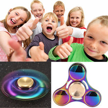 2017 New Arrivals Novelty Gifts new hot fashion Rainbow Metal Hand Tri Spinner Bearing Fidget Finger Gyro Kids Adult Focus Toys