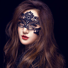 1pc New Lace Mask Hot Mask Cutout Eye sexy queen dress up Halloween costume party(China)