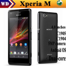 Original Sony xperia M C1905 Dual-core 5MP camera Android OS 4.0'' refurbished cell phone unlocked