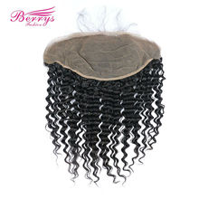 [Berrys Fashion] Lace Frontal Closure Brazilian Deep Wave Human Hair Natural hairline Free Part Bleached Knots Remy Hair Bundles