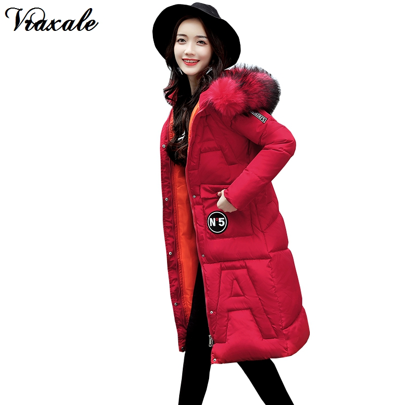 Vraxale Winter Coat Women 2017 New Fashion Jacket Women Cotton-padded Parkas Jackets Large Fur Collar Female Slim Long OutwearÎäåæäà è àêñåññóàðû<br><br>
