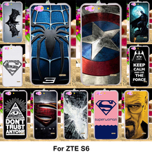 TAOYUNXI Silicone Phone Cover Case For ZTE Blade S6 Q5 Q5-T 5.0 inch Case TPU Plastic Cover Painted Superman Captain American(China)