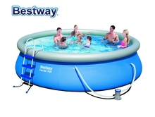 "57294 Bestway 457x107cm Fast Set Pool 15'x42"" RE-ENGINEERED PVC Top-ring Inflatable Pool Kit WzPool,Ladder,Filter,Cover,Mat(China)"
