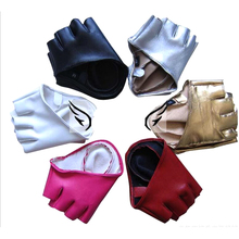 Fashion Women's Leather Gloves Half Finger Gloves Fingerless Driving Show Jazz Gloves(China)