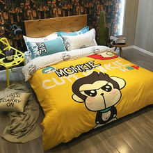 cartoon style kapo monkey print bedding sets yellow linens cotton queen full double size sheets sets coverlets(China)