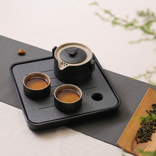 Wujin stone tea tray small household water storage tray dry foam Taiwan Kung Fu tea set a pot of two cup Quik cup(China)