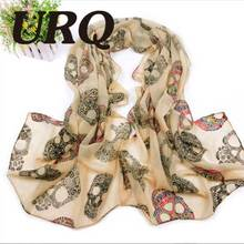 2016 new design colored diamond skull printed lady chiffon silk scarves 70*160cm R7A16100(China)