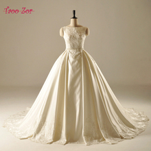 Buy TaooZor Exquisite Beaded Pearls Waistline A-Line Satin Wedding Dresses 2017 Vintage Cathedral Train Robe De Mariage Plus Size for $215.79 in AliExpress store