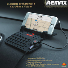 Remax magnetic force Rechargeable Car phone holder magnetic absorption charging port dock Phone Stand for iPhone samsung tablet