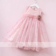 Girls Pearl Flowers Wedding Dresses 2017 Cute Baby Party Dress High-quality Goods Princess Belle Dress Fashion Childrens Clothes(China)
