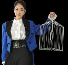 Novelty Silver Steel Appearing Bird Cage - Large size (dove appearing cage), Stage magic tricks,illusions,party magic show