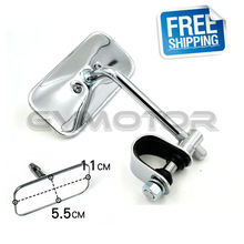 Chrome Vintage Cafe Racer Clamp-On Spot Mirror Rear view Mirrors Moped Motorcycle Backup Mirror Made in TAIWAN Free Shipping