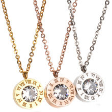 New Famous Brand Jewelry Gold-Color CZ Stone Necklace Stainless Steel Interchangeable Necklace Party Gift(China)