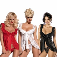 Red White Black Plus Size S-6XL Sexy Lingerie Babydoll FrontOpen Nighty Chemise Sleepwear Sexy Underwear(China)