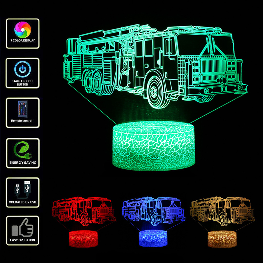 Search For Flights Flash Fire Truck Model 3d Nightlight Visual Illusion Led 7 Colors Changing Flash Light Fireman Fire Engine Car Figure Toys Outstanding Features Toys & Hobbies