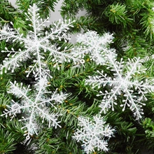 2017 Christmas Tree Decorations Snowflakes 30pcs 6cm/11cm White Plastic Artificial Snow Christmas Decorations for Home Navidad