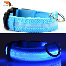 Nylon Pet Three Flash Modes LED Dog Collar Night Safety Flashing Pet Goods Direct Chain For Dog Cat Rabbit Collar Harness(China)
