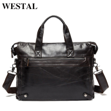 WESTAL Genuine Leather bag Business Men bags Laptop Tote Briefcases Crossbody bags Shoulder Handbag Men's Messenger Bag 9103(China)