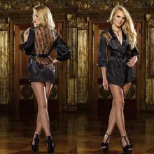 747146349f1d6f9 Для женщин Дамы сексуальное женское белье шелк Кружево халат платье  Babydoll ночная рубашка пижамы цвет: