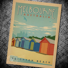 Melbourne australia Posters of famous scenic spots Nostalgia kraft paper poster dormitory hang painting bar cafe decoration