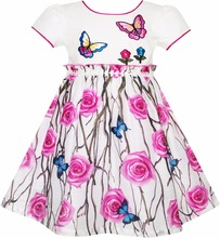 Sunny Fashion Girls Dress Rose Flower Butterfly Princess Birthday Party Sundress Cotton 2017 Summer Wedding Dresses Size 4-10