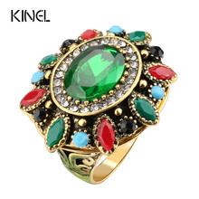 Kinel Unique Antique Gold Sunflower Rings For Women Mosaic Green Resin Crystal Big Ring Christmas Gift Vintage Jewelry