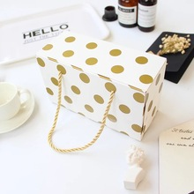 10pcs gold dot handle Paper Box as candy Cookie valentine chocolate gift Packaging Wedding Christmas Use(China)