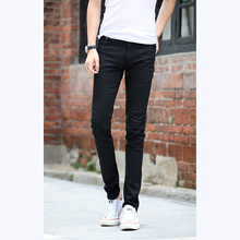 New Fashion Mens Slim Fit Straight Washed Denim Jeans Male Casual Skinny Solid Pencil Pants Trousers Black Size 28-36(China)