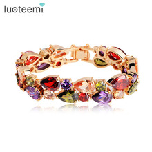 LUOTEEMI Hot Selling Mona Lisa Multicolor Cubic Zircon Bracelets Bangles Luxury Wedding Accessories Bracelet for Women Gift