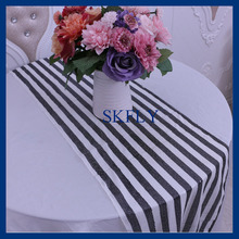 RU016A New Wedding black and white stripe sequin table runner