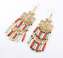 European and American Bohemia Fashion Jewelry Manufacturer Direct Wholesale Dangle Earrings Vintage Metal Beads Tassel Earrings