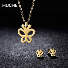 HUCHE Butterfly Stainless Steel Costume Jewelry Sets For Women With Gold Color Necklaces And Earrings For Wedding HYJBT29a(China)