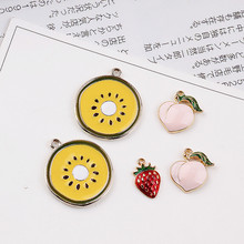 30pcs/lot alloy drop oil gold color cartoon furit style cartoon Kiwifruit/Strawberry/Peach shape floating locket pendant charms(China)