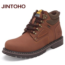 JINTOHO Big Size Men Ankle Boots High Quality Genuine Leather Men Work&Safety Boots Winter Shoes Rubber Boots For Men Work Shoes(China)
