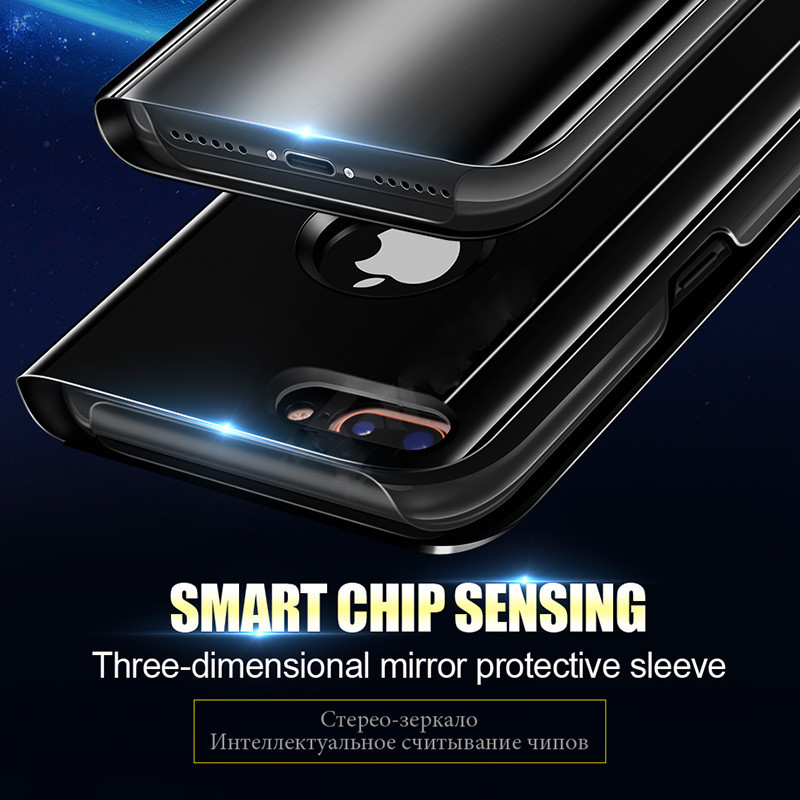 SHUOHU Luxury Case for iPhone 8 7 6 6 S Plus Ultra Slim Mirror Smart Case for iPhone 8 iPhone 7 Cover Phone Holder for iPhone X 6