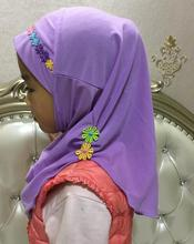 H1085 new style small girl hijab with small handmade flowers,mixed colors,fast delivery