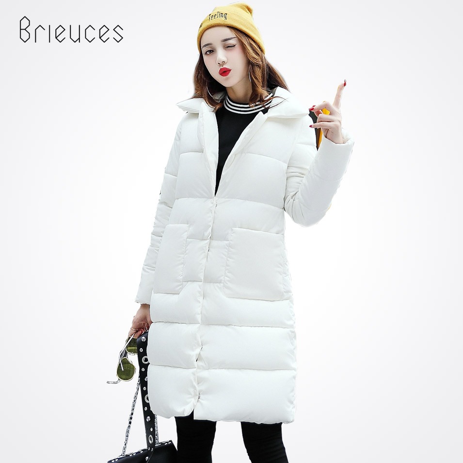Brieuces Winter Jacket Women 2017 New Fashion Solid Color Stand Collar Women Coat Jacket Pockets White Winter Coat FemaleÎäåæäà è àêñåññóàðû<br><br>